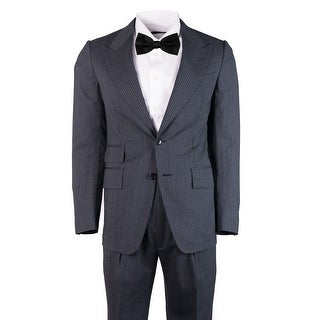 Tom Ford Mens Grey Wool Pin Striped Shelton Two Piece Suit - 36 r