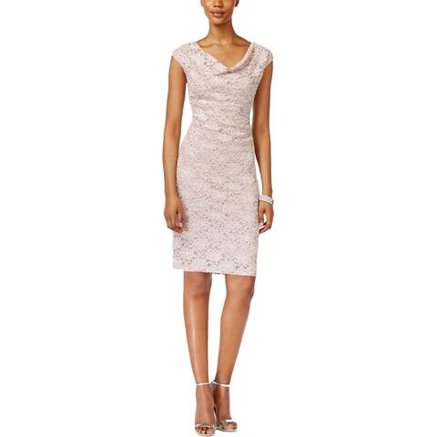 Connected Apparel Womens Petites Cocktail Dress Lace Sequined