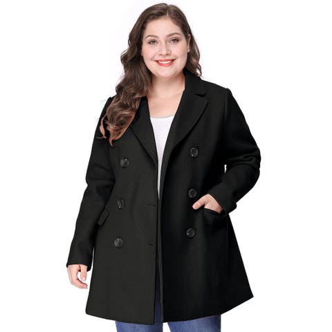 Women's Plus Size Notched Lapel Double Breasted Coat