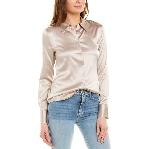 Theory Perfect Fitted Silk-Blend Blouse