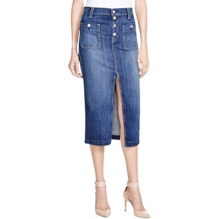 7 For All Mankind Womens Pencil Skirt Denim Split Front