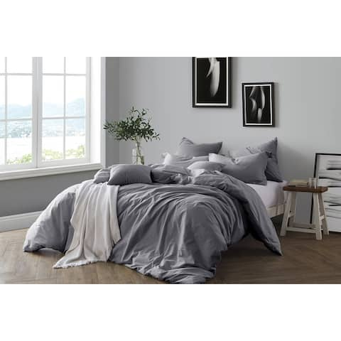 All Natural Luxurious Prewashed Cotton Chambray Duvet Cover Set
