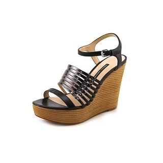 French Connection Demi Women Open Toe Leather Black Platform Sandal