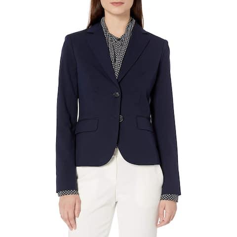 Jones York Womens Blazer Jacket Navy Blue Size 10 Double-Button