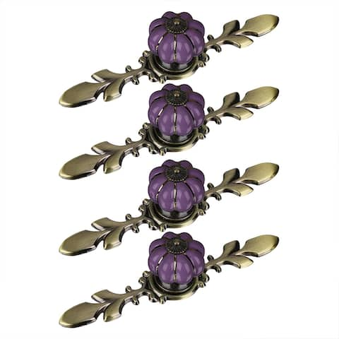 Ceramic Vintage Knob Dresser Pumpkin Handle Cupboard Wardrobe 4pcs Purple