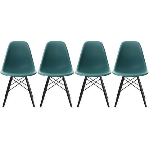 2xhome Set of 4 Retro Designer Plastic Molded Shell Dining Chairs Dark Wooden Kitchen Office DSW Eiffel Dowel Bedroom Desk