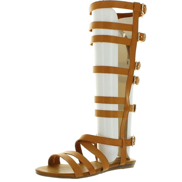 Refresh Womens Ongee-05 Strappy Buckle Cage Knee High Boot Flat Gladiator Sandal