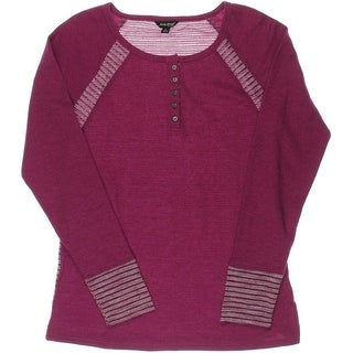 Lucky Brand Womens Thermal Long Sleeves Henley Top