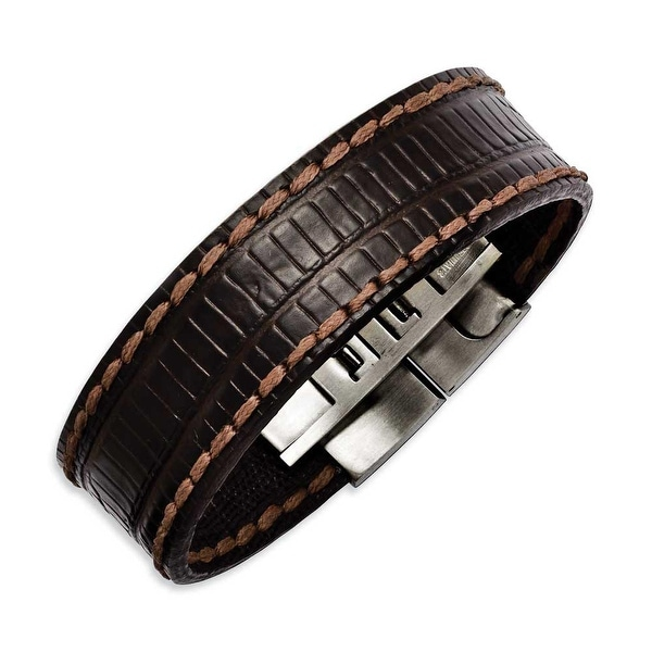 Chisel Stainless Steel Brown Textured Leather 8in Bracelet