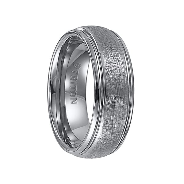 KENDRICK Domed Tungsten Carbide Ring with Wire Brush Finish and Polished Step Edges by Triton Rings - 8 mm