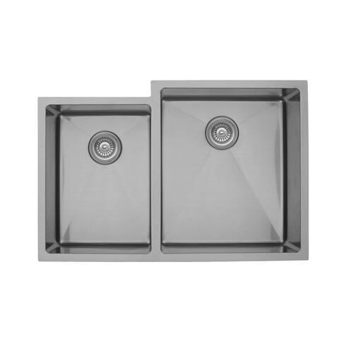 "Karran 33"" Undermount Double Bowl Stainless Steel Kitchen Sink"