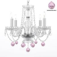 Swag Plug In Crystal Chandelier With Pink Crystal Balls
