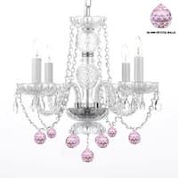 Swag Plug-In Swarovski Elements Trimmed Chandelier Lighting With Pink Crystal Balls