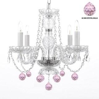 swag plugin swarovski trimmed chandelier lighting with pink crystal balls