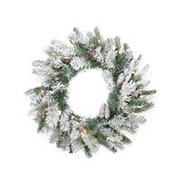 "24"" Pre-Lit Flocked Victoria Pine Artificial Christmas Wreath -  Clear Lights - green"