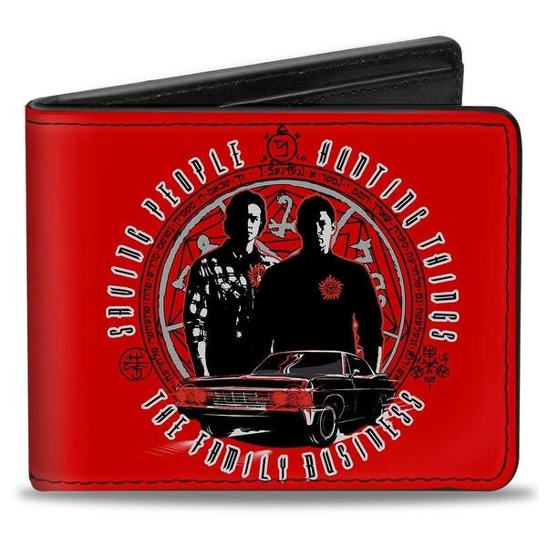 Supernatural Sam & Dean Pose Impala Symbols Saving People Hunting Things Bi-Fold Wallet - One Size Fits most