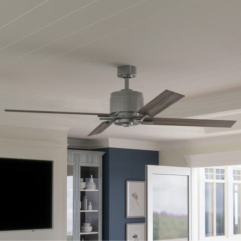 """Luxury Urban Loft Indoor Ceiling Fan, 15.4""""H x 56""""W, with Industrial Chic Style, Galvanized Steel, UHP9062 by Urban Ambiance"""