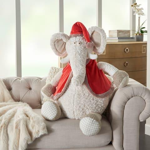 "Mina Victory Plushlines Holiday Merry Elephant with Hat and Vest Ivory Plush Animal 1'10"" x 2'2"""