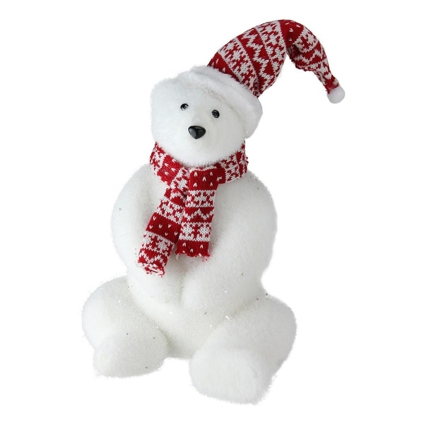 """12"""" Retro Christmas Glitter Polar Bear in Nordic Hat and Scarf Decoration"""