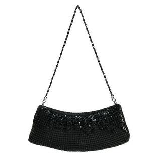 Magid Women's Metal Mesh Handbag with Chain Strap - Black - One Size