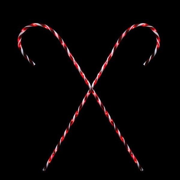 Set of 2 Peppermint Twist Giant Lighted Candy Cane Pathway Markers Outdoor Christmas Decorations 60""