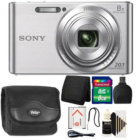 Sony DSC-W830 20.1MP Point and Shoot Digital Camera (Silver) + 8GB Memory Card + Wallet + Reader + Case + 3pc Cleaning Kit