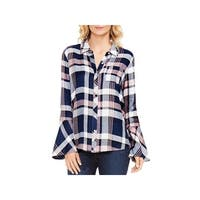 Vince Camuto Womens Button-Down Top Plaid Bell Sleeves