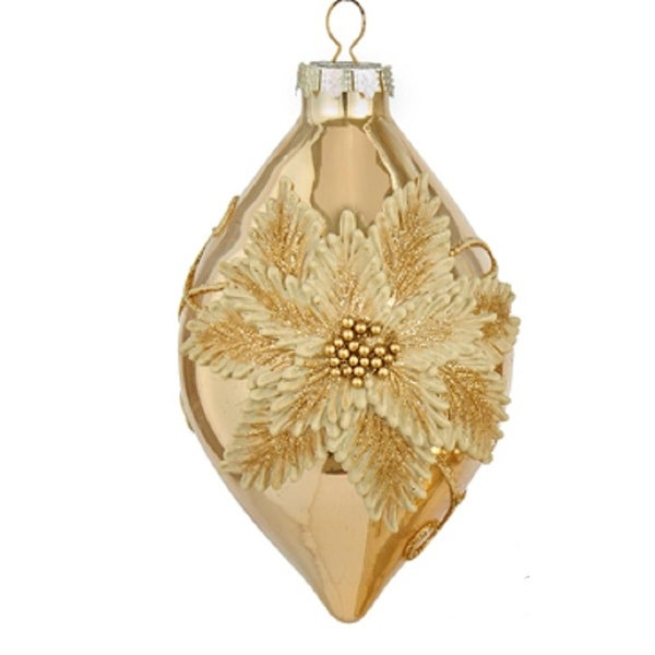 "5.5"" Glamour Time Glittered Gold Poinsettia Glass Tear Drop Christmas Ornament"