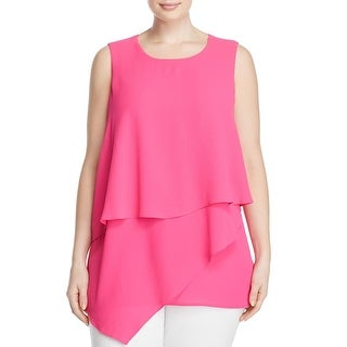 Vince Camuto Womens Plus Pullover Top Layered Sleeveless