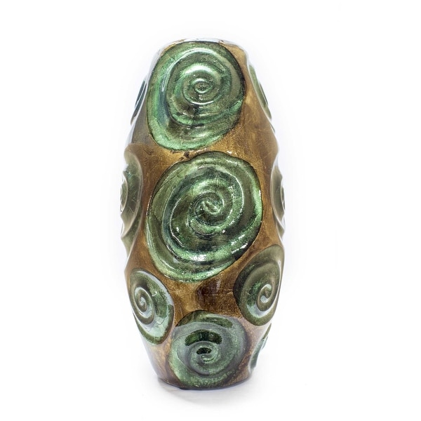 "14"" Turquoise, Copper, and Bronze Ceramic Table Vase"