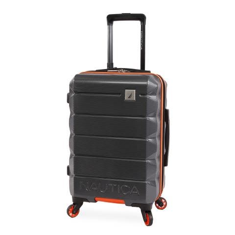 Nautica Quest 21-inch Carry On Hardside Spinner Suitcase - Grey/Orange