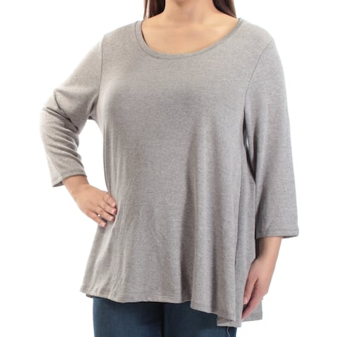 STYLE & CO Womens Beige 3/4 Sleeve Jewel Neck Top Size: XL
