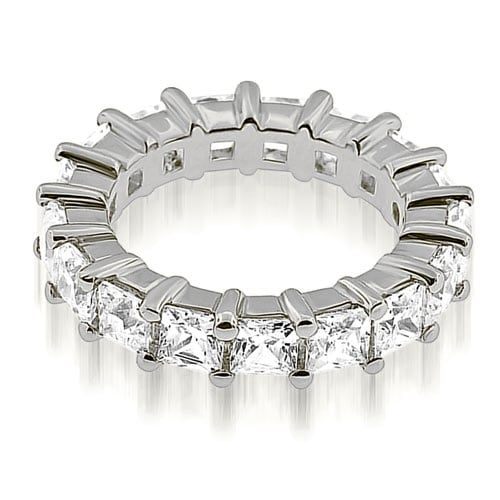 4.15 cttw. 14K White Gold Princess Cut Diamond Eternity Band Ring