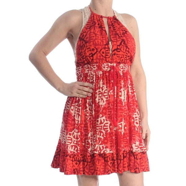 4d2f50f5ea122 FREE PEOPLE Womens Red Low Back Tie Tie Dye Sleeveless Halter Above The  Knee Evening Dress Size: XS