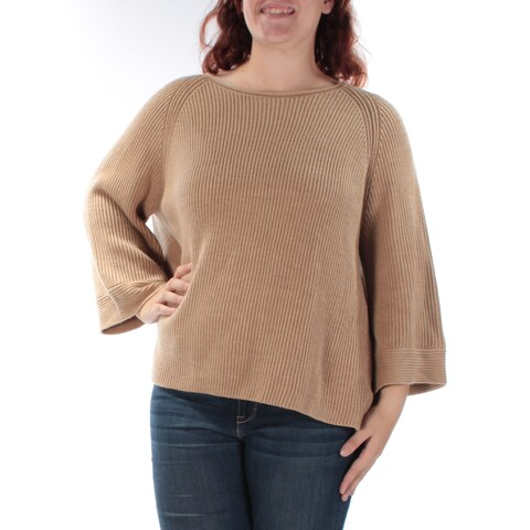 Womens Brown 3/4 Sleeve Jewel Neck Casual Sweater Size XL