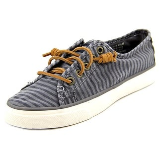 Sperry Top Sider Seacoast Charcoal Stripe Women Canvas Gray