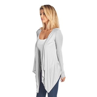 Women's Short Long Sleeve Cardigan With Open Front IVORY (Small)