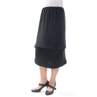 LANVIN $3855 Womens New 5758 Black Midi Layered Casual Skirt M B+B