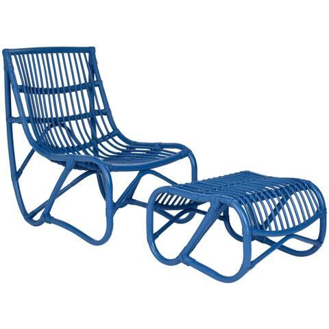 "Safavieh Shenandoah Blue Wicker Chair and Ottoman Set - 22"" x 30.5"" x 32"""