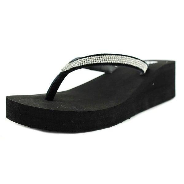 Yellow Box Venus Women Open Toe Synthetic Black Flip Flop Sandal