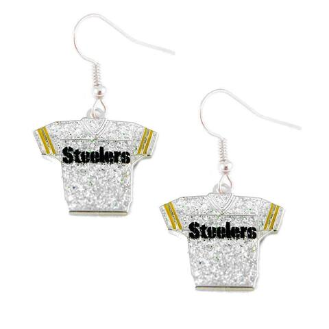 NFL Pittsburgh Steelers Glitter Jerseys Sparkle Dangle logo Earring Set Charm Gift
