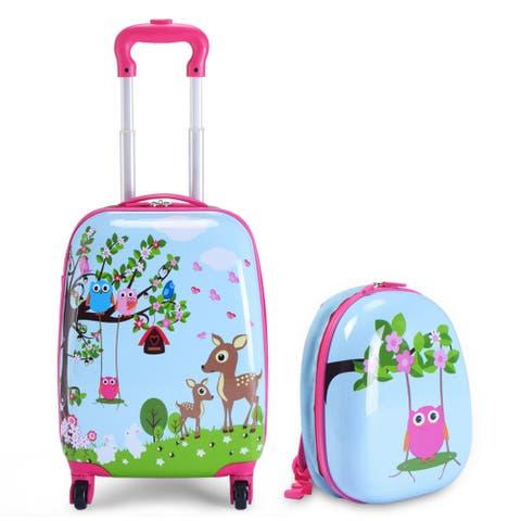 Costway 2Pc 12'' 16'' Kids Luggage Set Suitcase Backpack School Travel