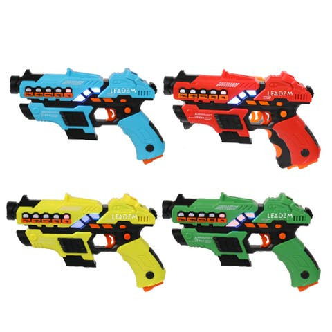 Kids Toys Set 4 Small Laser Guns (Red/Yellow/Blue/Green)