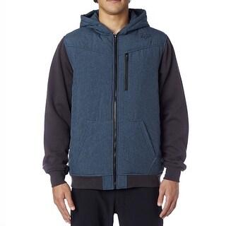 Fox Racing 2016 Men's George Military Fleece Hoodie Zip Sweatshirt - 16232 - sulphur blue