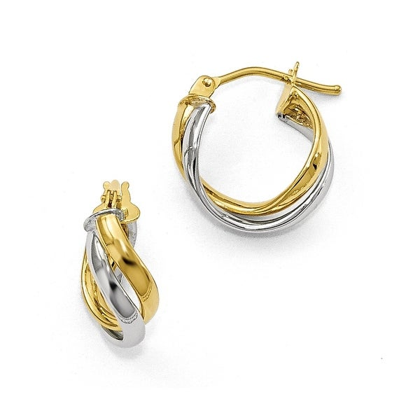 Italian 10k Two-Tone Gold Polished Twisted Hoop Earrings