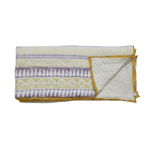 Timbergirl cotton hand printed mustard quilt with 2 shams