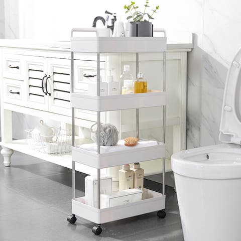 Rolling Storage Cart 4-Tier Mobile Shelving Unit Bathroom Carts