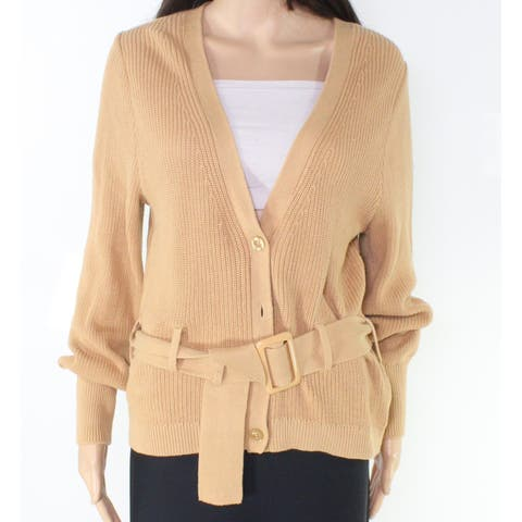 Free Press Women's Beige Size Large L Belted V-Neck Cardigan Sweater
