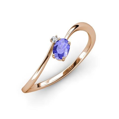 TriJewels Tanzanite Diamond 1/2 ctw Women Bypass Promise Ring 14K Gold