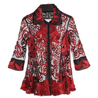 Women's Tunic Top - Black And Red Sheer Embroidered Blouse
